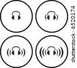 headphones symbols - stock photo