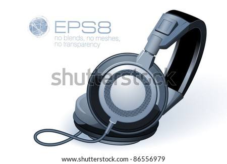 Headphones. Vector. - stock vector
