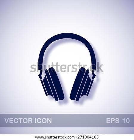 Dark Blue Headphones Headphones Vector Icon Dark