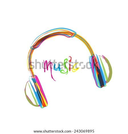 Headphones, wire and grunge heart easy editable - stock vector