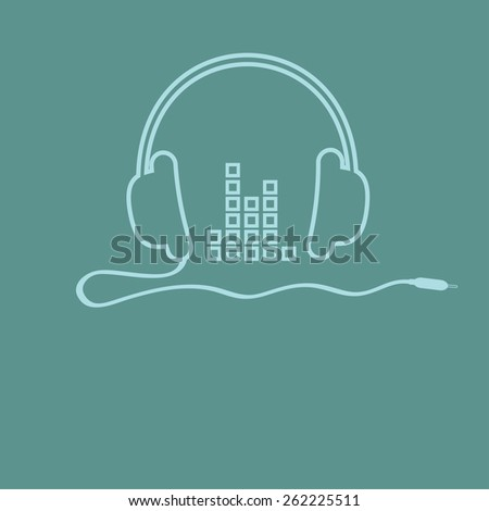 Headphones with cord and equalizer Music background card. Outline icon. Flat design Vector illustration. - stock vector