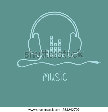 Headphones with cord and equalizer word Music background card. Outline icon. Flat design Vector illustration. - stock vector