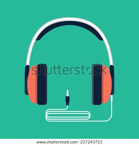 Headphones with jack plug - stock vector