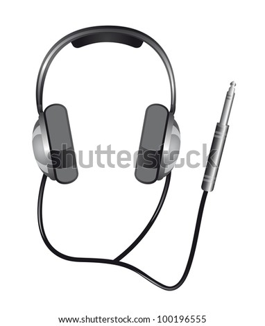 headphones with jack plug isolated over white background. vector - stock vector