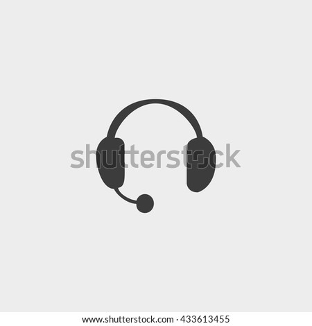 Headphones with microphone icon in a flat design in black color. Vector illustration eps10 - stock vector