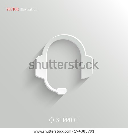 Headphones with microphone icon - vector web illustration, easy paste to any background - stock vector