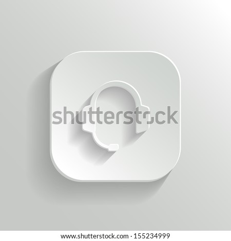 Headphones with microphone icon - vector white app button with shadow - stock vector