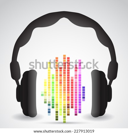 Headphones with rainbow equalizer and shadow - stock vector