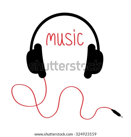 Headphones with red cord and word Music. Card. Flat design. White background. Vector illustration. - stock vector