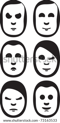 Heads and emotions - stock vector