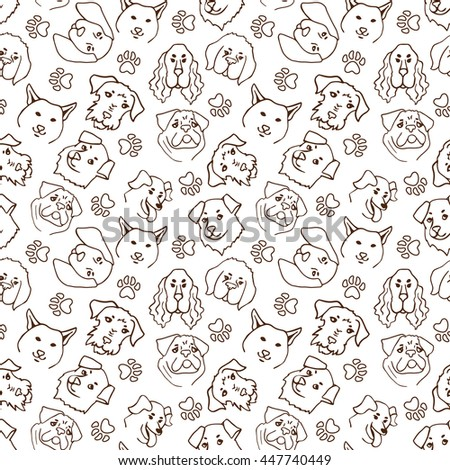 Heads of dogs cartoon seamless pattern. Vector line illustration background.