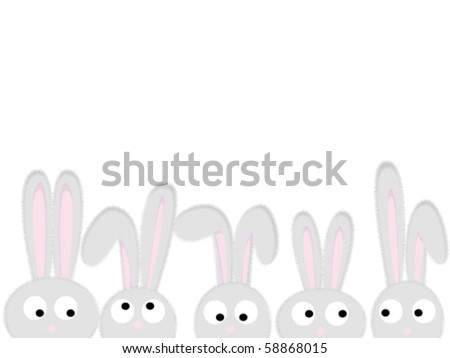 Heads of the rabbits - stock vector