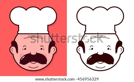 Heads of two fun cartoon chefs wearing white toques with sausages balanced on their upper lips as mustaches in different color variants - stock vector