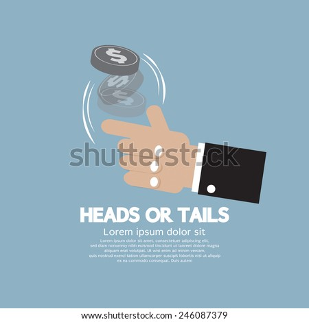 Heads Or Tails Cast Lots Concept Vector Illustration - stock vector