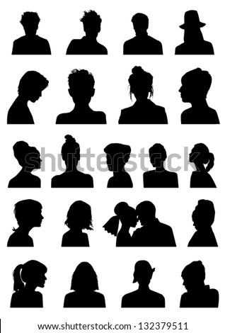 Heads silhouettes - stock vector