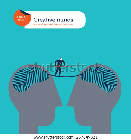 Heads with balls of yarn brains  connected man crossing. Vector illustration Eps10 file. Global colors. Text and Texture in separate layers.  - stock vector