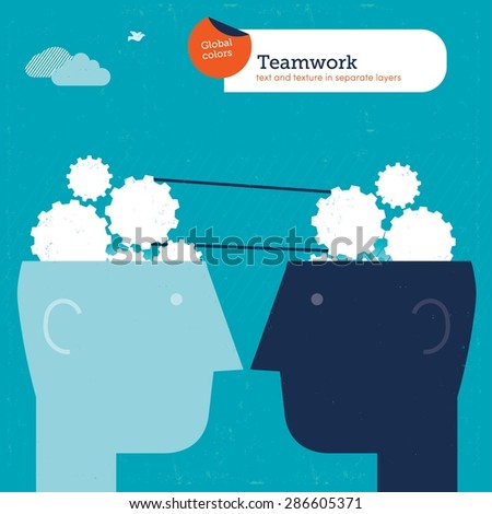 Heads with gears and brains working together. Vector illustration Eps10 file. Global colors&layers. - stock vector
