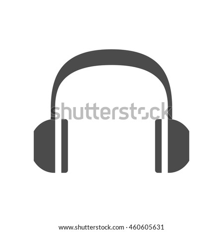Headset Audio icon in black and white grey single color. - stock vector