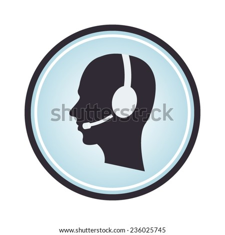 Headset contact blue Icon rounded with head and headset as a customer support stamp - stock vector
