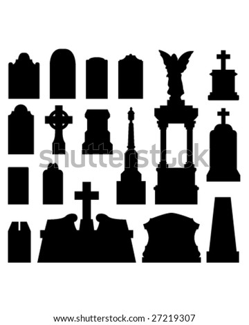 Headstone and gravestones as vector silhouettes