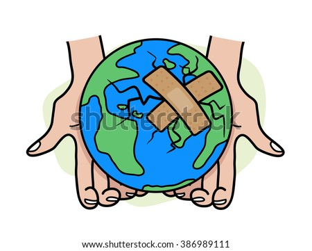 Heal the World, a hand drawn vector illustration of the earth, damaged, and patched using bandages. isolated on a simple background (editable). - stock vector
