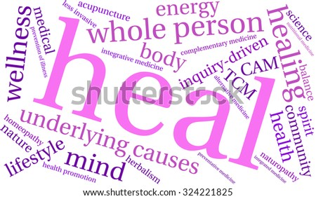 Heal Word Cloud On a White Background.