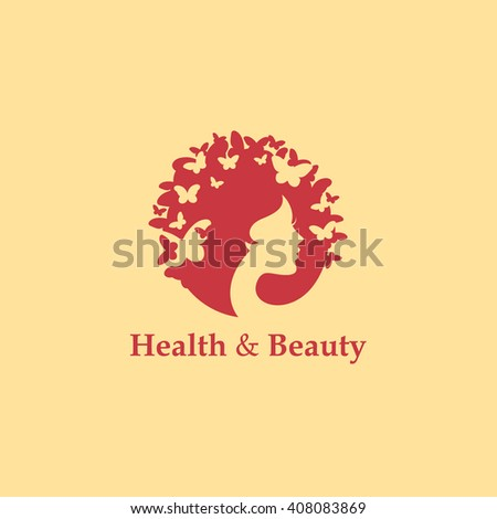 Health and beauty logo concept: woman's face and butterflies. Logo for beauty salon, massage, cosmetics, spa or medical clinic. Flat design. - stock vector