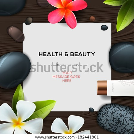 Health and beauty template with Natural spa cosmetics products, vector illustration.  - stock vector