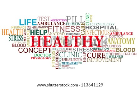 Health and care tags cloud for web design. Jpeg version also available in gallery - stock vector