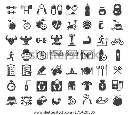 Health and Fitness icons on white background - stock vector