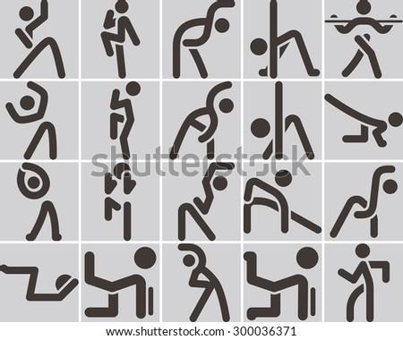 Health and Fitness icons set - aerobics icon - stock vector