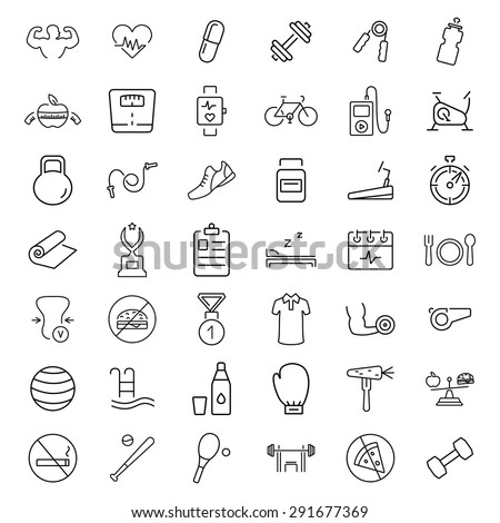 Health and Fitness vector icons. - stock vector