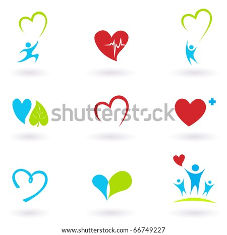 Health and Medical: Cardiology, heart and people icons collection - stock vector