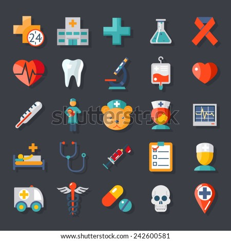 Health and medical care icons flat set - stock vector