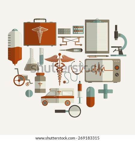 Health and Medical concept with different elements on white background. - stock vector