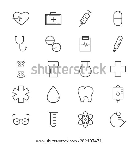 Health and Medical Icons Line - stock vector