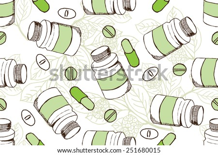 Health and Nature Supplements Collection.  Seamless pattern with herbs and pills.  Noni Fruit   - Morinda Citrifolia  - stock vector