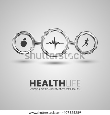 Health and sport symbols. Vector illustration. - stock vector