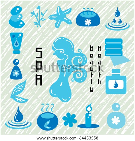 Health and wellness icons - blue vector. Vector Illustrations of wellness / health / homeopathy related design elements. Woman silhouette, bamboo, water lily, candle, aromatherapy - stock vector