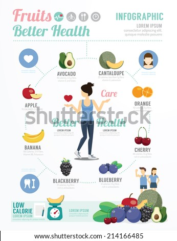 Health and Wellness Template Design Fruit for Healthy Infographic . concept vector illustration - stock vector