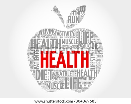Health apple word cloud concept - stock vector