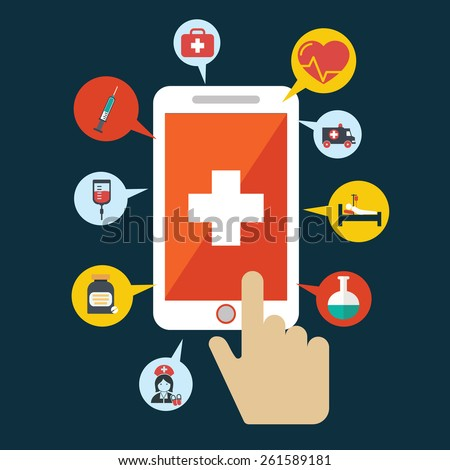 Health application on a smartphone. Open with hand cursor. Vector icon - stock vector