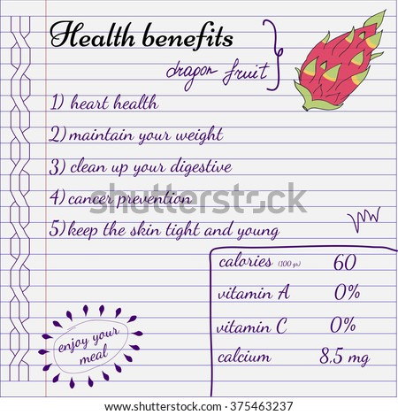Health Benefits Dragon Fruit Nutrition Facts Stock Vector ...