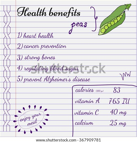Health benefits of peas. Nutrition facts infographics. Hand drawn health benefits.