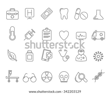 Health Care and hospital icons - vector icon set - stock vector