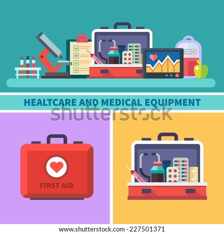 Health care and medical equipment. First aid, research, microscope, analyzes, medicines, cardiogram, blood transfusion. Vector flat illustrations and icons - stock vector