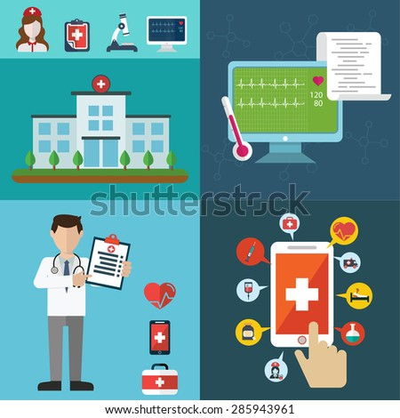 Health care and Medical flat banners set with research healthcare first aid  - stock vector