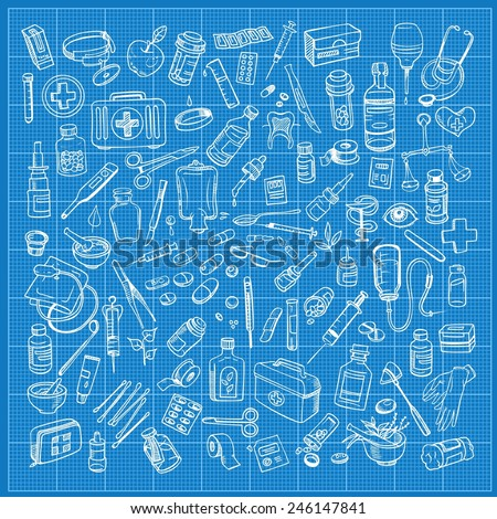 Health care and medicine doodle icon set. Vector illustration - stock vector