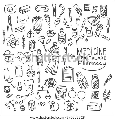 Health care and medicine doodle icon set, vector illustration - stock vector