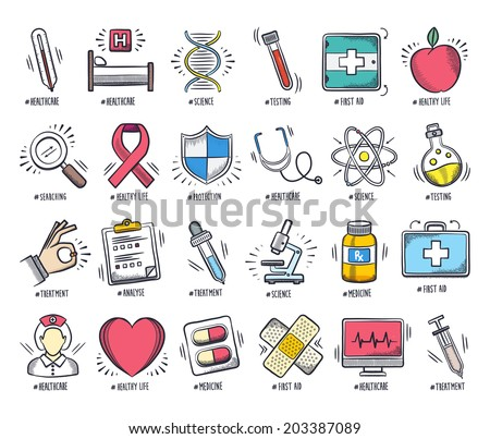 Health care and medicine icon set. Vector doodle illustrations. - stock vector